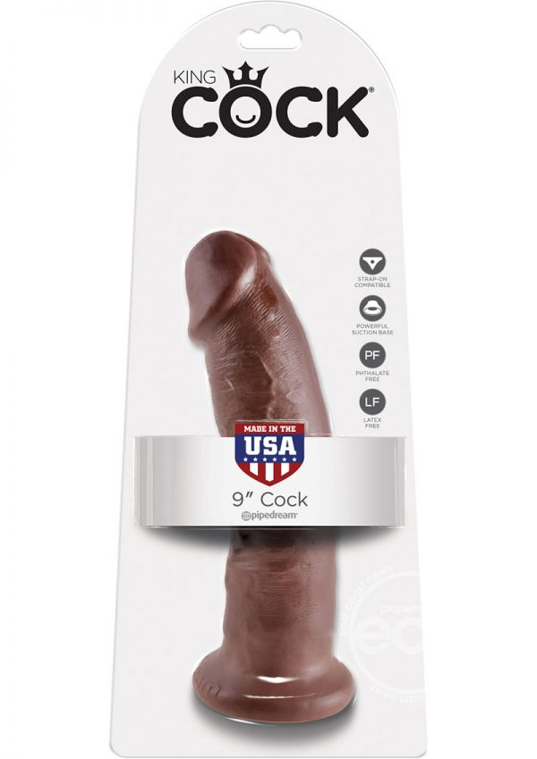 King Cock Realistic Cock Brown 9 Inch