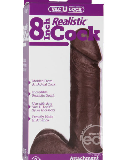 Vac U Lock Realistic Cock 8 Inch Black