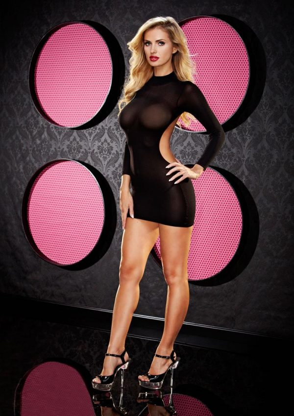 LONG SLEEVE BACKLESS MINI DRESS - BLACK