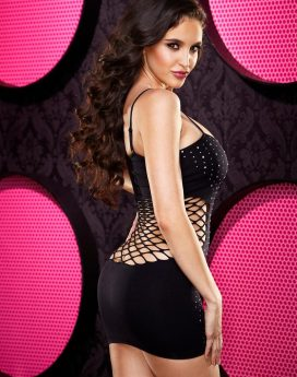BLING NAUGHTY GIRL MINI DRESS-BLK DIA