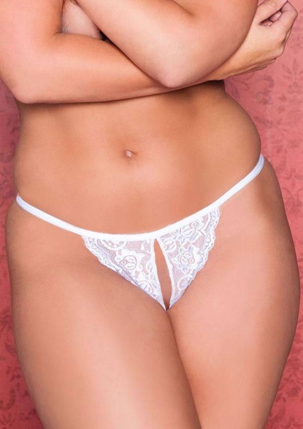 TINA LACE CROTCHLESS THONG - WHITE - Q/S
