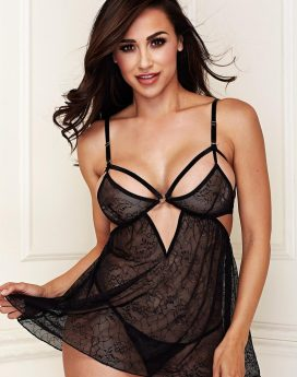 BLACK LACE BABYDOLL SET W/ G-STRING-M/L