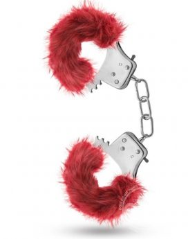 Temptasia Plush Fur Cuffs Adjustable Furry Hand Cuffs Stainless Steel With Keys Burgandy