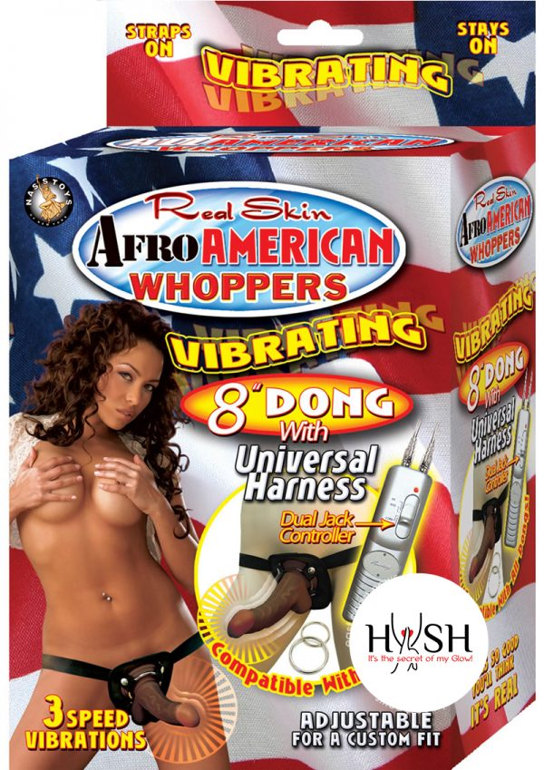 Real Skin Afro American Whoppers Vibrating Dong With Harness 8 Inch