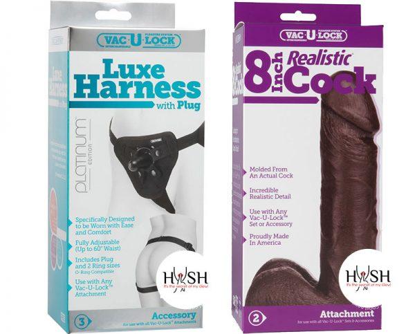 Vac-U-Lock-Platinum-Luxe-Harness-With-Plug-Black-Adjust-Up-To-60-Inch-Waist-and-Vac-U-Lock-Realistic-Cock-8-Inch-Black